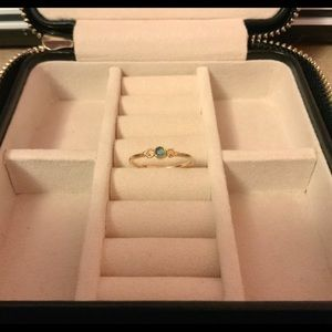 14k Gold Two Hearts Ring with Opal